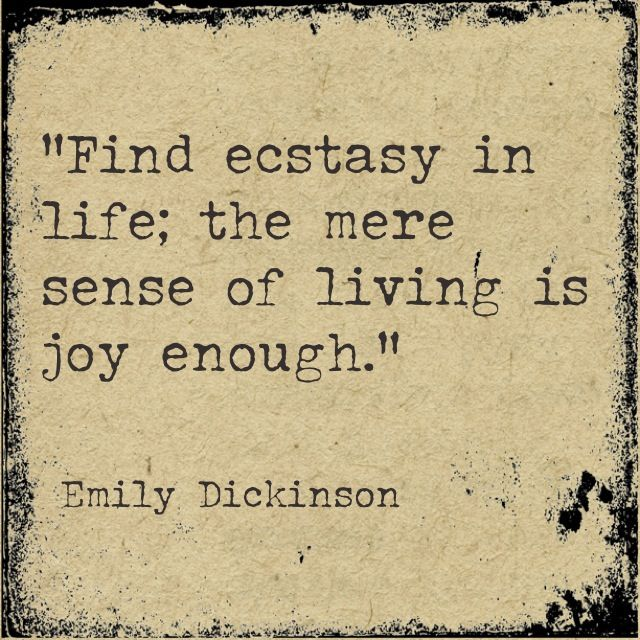Find ecstasy in life; the mere sense of living is joy enough. - Emily Dickinson #literary #quotes