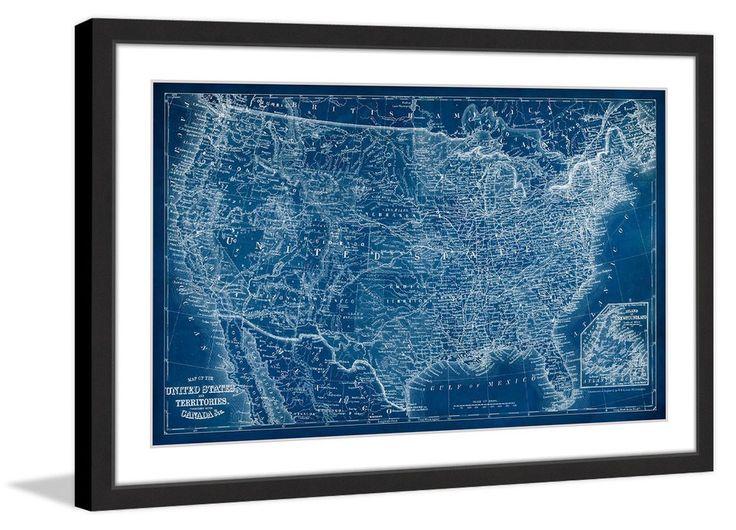 US Map Blueprint Giclee Print - Us map blueprint