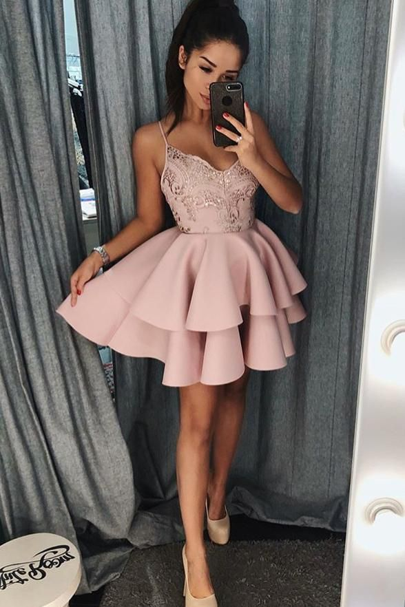6cbde4837e7a Fashion Spaghetti Straps Blush Pink Appliques Homecoming Dresses,Short Prom  Graduation Dress LD1277
