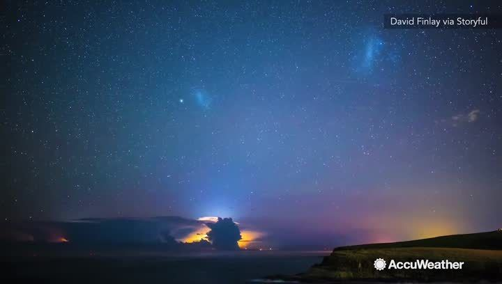 David Finlay captured a triple packaged deal from the night sky, the Lyrid Meteor Shower, the Aurora Australis and lightning sprites from a distant storm all at once in Kiama, New South Wales.