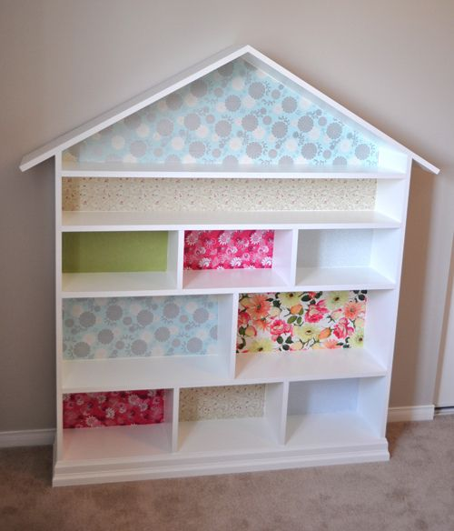 Instructions for dollhouse bookcase / doll house bookshelf made from MDF, decorated with gift wrap.