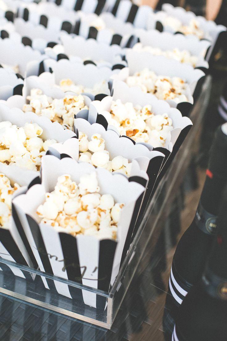 popcorn favors in bw striped boxes...ADD diy ♥❤ www.customweddingprintables.com #customweddingprintables