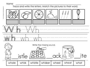 Digraph Wh : Sorting Pictures that begin with WH
