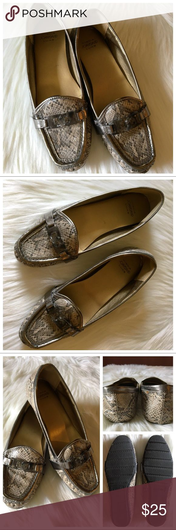 Circa Joan & David Luxe Snakeskin Slip-On Loafers Circa Joan & David Luxe loafer. Pretty pewter color with snakeskin pattern. Lucite buckle accents. Very stylish & comfortable, gently used. Joan & David Shoes Flats & Loafers
