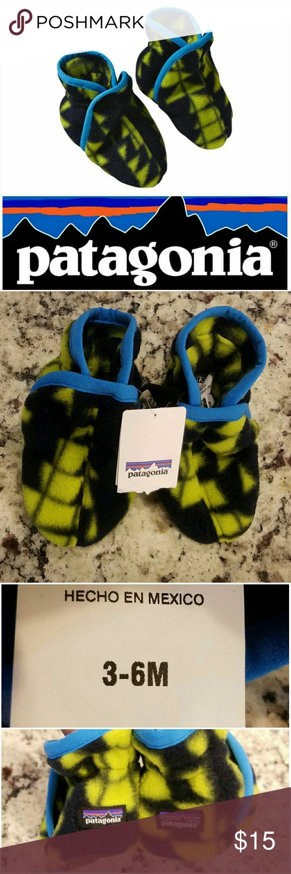 Patagonia Synchilla Baby Booties New. Size 3-6 months.  -Warm polyester double-faced fleece in upper (solids with 85% recycled content); sole has a skid-free nylon/spandex/polyurethane jersey fabric  -Elasticized pull-on booties stay-put around ankle for a secure fit  -2-layer sole construction gives foot extra cushion and nonslip safety. Patagonia Shoes