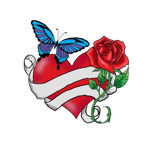 Heart, Rose And Blue Butterfly With Banner