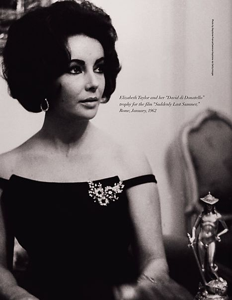 Elizabeth Taylor looking glamorous in the brooch and earrings from her Bulgari…