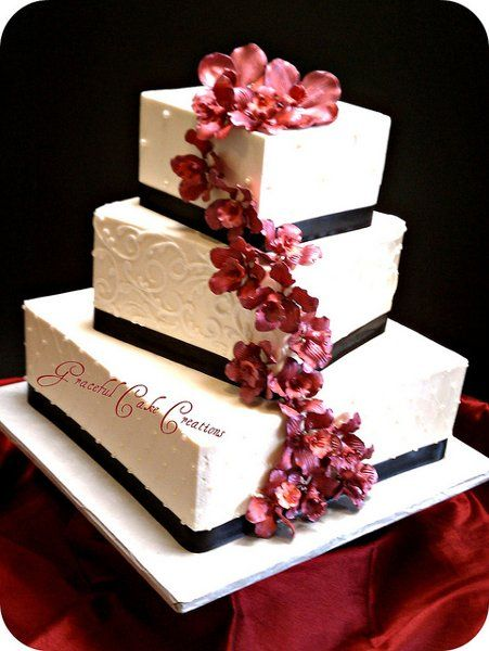 Elegant Black Burgundy Ivory Square Wedding Cakes Photos & Pictures - WeddingWire.com