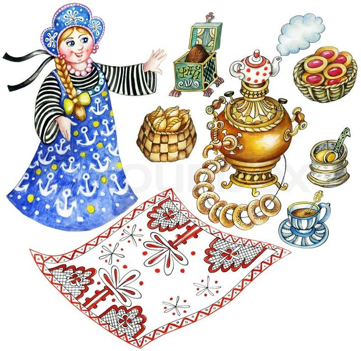 Stock image of 'Traditional Russian tea party. Set of hand painted images: tablecloth,samovar, tea pot, bread-rings, pies, honey.'