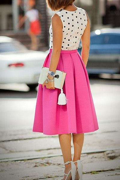 Santorini Hot Pink Midi Skirt at ShopLuckyDuck.com