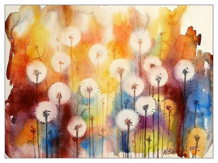 Dandelions, 40x30cm, watercolour, for sale