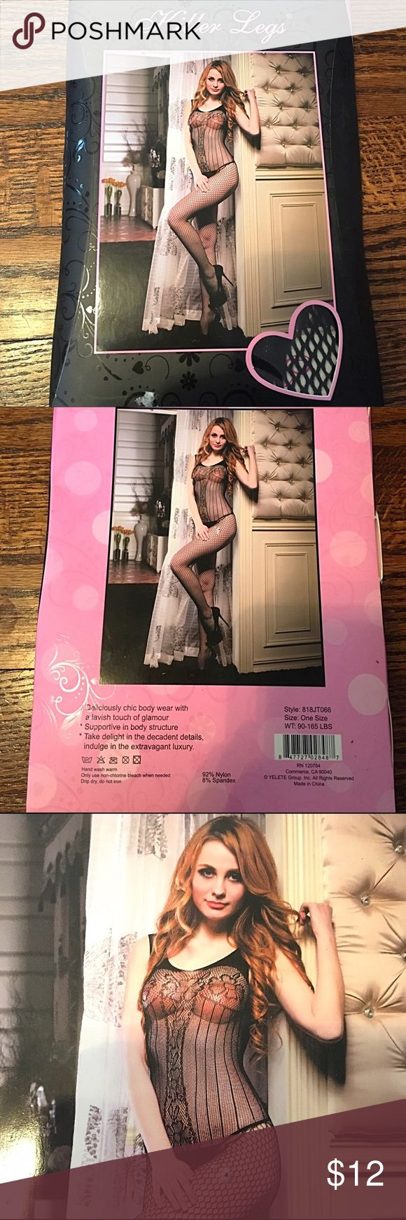 👯Black Floral Lace Body Stocking This is a black lace and fishnet body stocking featuring a tank top and floral lace. The package says one size fits all from 90-165 lbs. I received this as a gift and it has never come out of the package. Killer Legs Intimates & Sleepwear