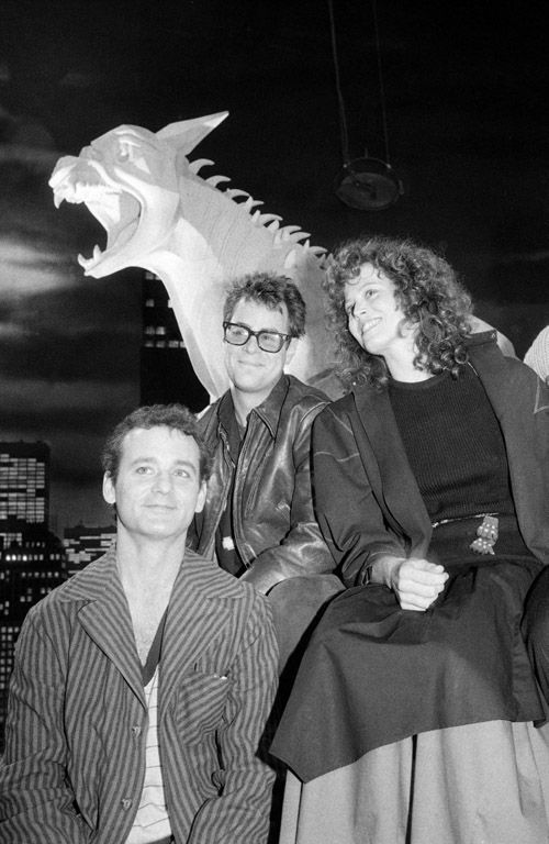 Bill Murray, Dan Aykroyd and Sigourney Weaver on the set of Ghostbusters
