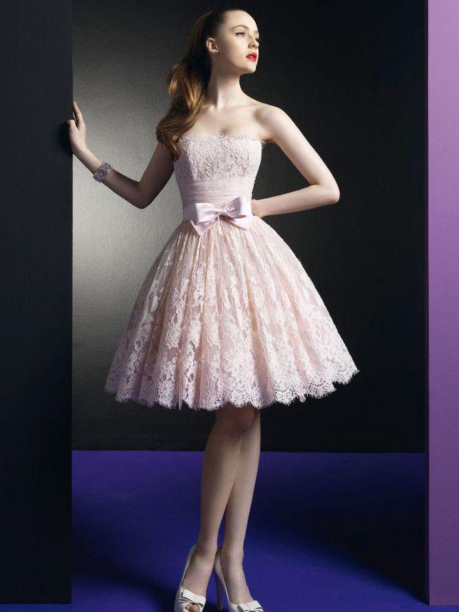 My dress for Jill's wedding!!!!  Strapless Pink Lace Wedding Bridesmaid Prom Dress   DV2051