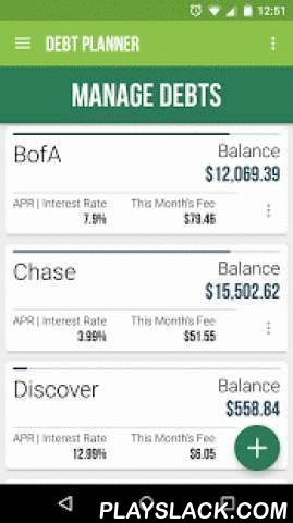Debt Planner & Calculator  Android App - playslack.com ,  A beautiful, simple-to-use debt calculator and a monthly finance planner!What this app does: Organizes and plans out your debt. Tells you HOW long it will take to get out of debt with some basic monthly details. Up to SIX (6) debts supported and four (4) payoff strategies -- not including the debt snowball method which can be turned on for each.Also, just added:Fixed payments.Monthly payment reminders in your device status bar…