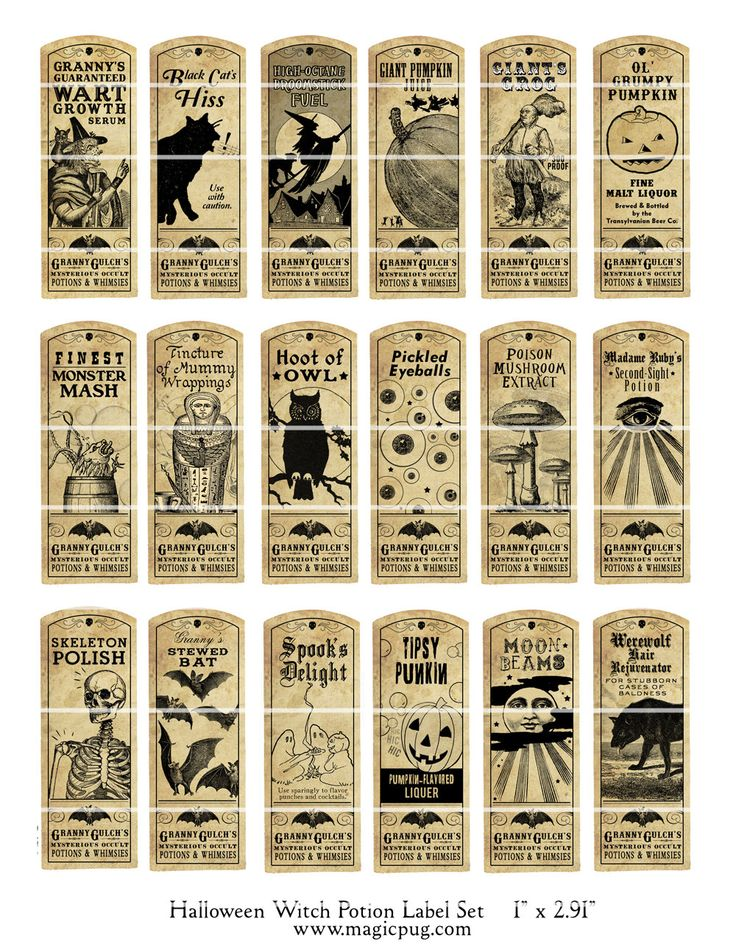 Halloween Witch Potion Label digital collage sheet bat cat holiday wicca 1x3 27mm x 73mm labels. $4.50, via Etsy.
