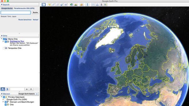 """Mit der Pro-Version von """"Google Earth"""" erhalten Sie einen flexiblen 3D-Globus, der auch für professionelle Einsatzzwecke geeignet ist. Den mit Satellitenbildern und Landkarten ausgestatteten Atlas nutzen Sie zum Beispiel als Routenplaner. Rasante Fahrten über die Kontinente hinweg sind ebenso möglich wie ein virtueller Ausflug ins Weltall mit """"Google Sky"""" und in die Unterwasserwelt mit """"Google Ocean"""". Über Zeitreisen lässt sich die Entwicklung einzelner Orte im Wandel der Zeit erleben. Für…"""