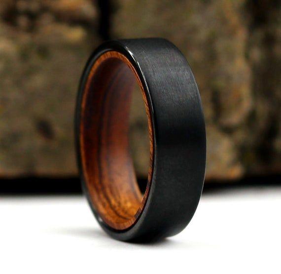 Titanium and Iron Wood  Mens Wood Rings wood Wedding Band Men/'s wedding Band  wooden ring with iron desert ironwood