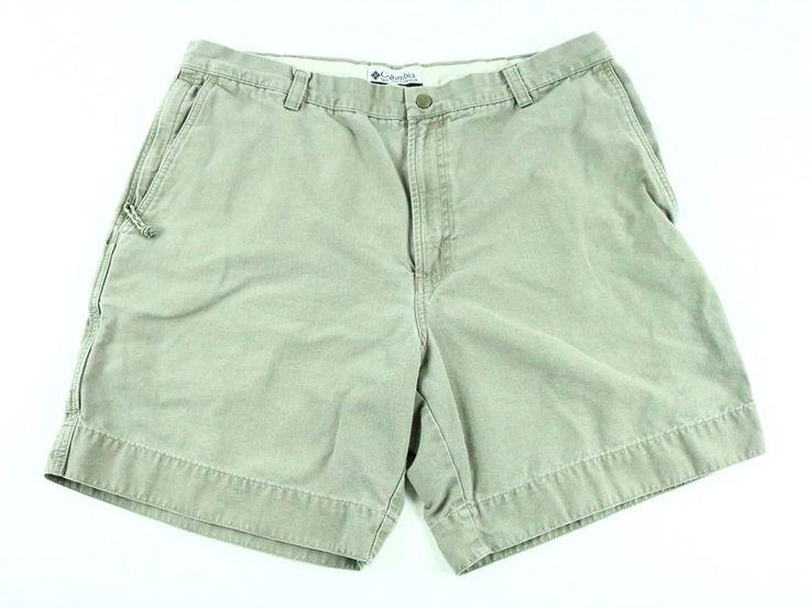 COLUMBIA Men's Short Flat Front Khaki Trail Cotton Outdoor Pants - 38 Inseam 8 #Columbia #FlatFront