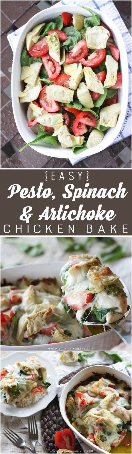 "Easy Pesto, Spinach & Artichoke Chicken Bake - Make this ""fancy"" dinner in only about 10 minutes plus cook time!  It is easy, healthy  and CRAZY DELICIOUS!!"