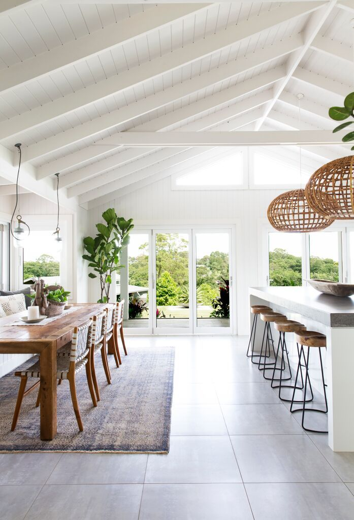 The Kitchen and dining space here at The Grove Byron Bay is enjoyed by family and friends. With raked ceilings and never ending white walls this interior is super easy in the eye.