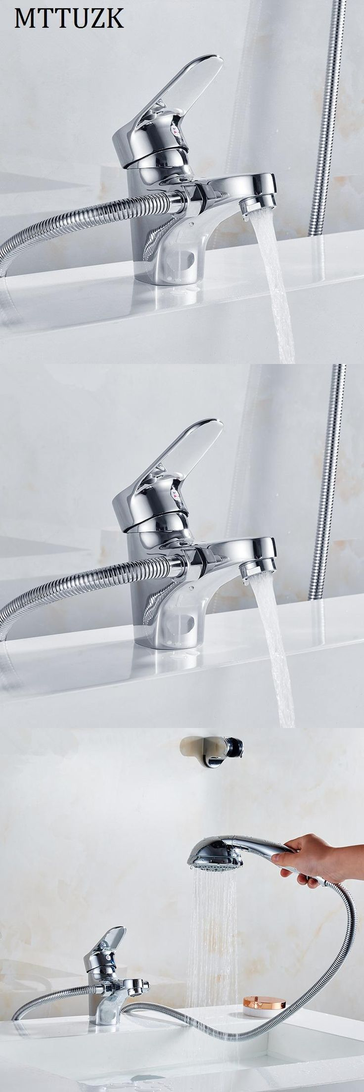 [Visit to Buy] MTTUZK Chrome Brass Shower Set Hot and Cold  Mixer Double Handle Shower Deck Mounted Bathtub Faucet Shower Set Free Shipping #Advertisement