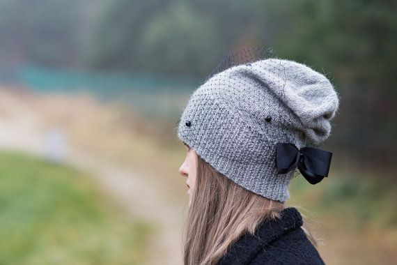 Gray beanie hat Gray knit hat Romantic wool by Isabellwoolstudio
