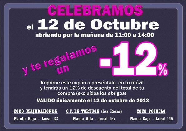 Mañana 12 de Octubre celebramos la fiesta nacional con un descuento especial, no te lo puedes perder !!!