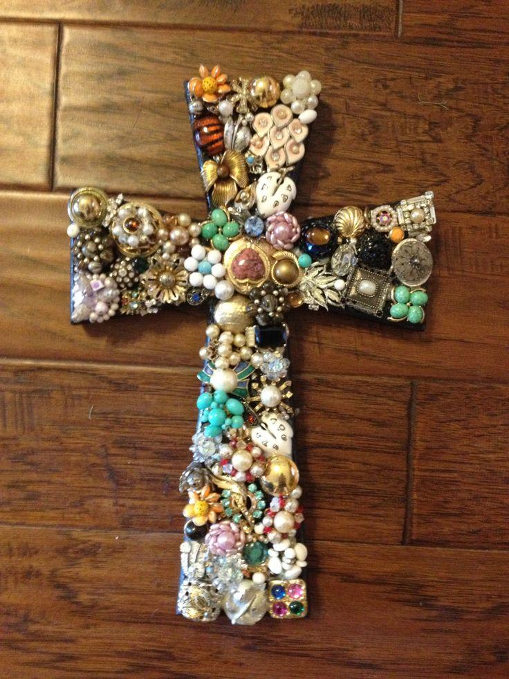 Old earrings plus wooden cross