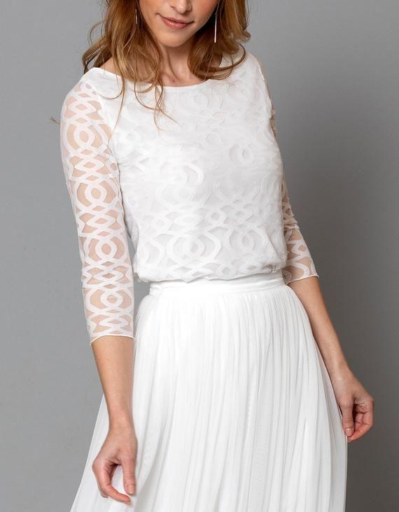 Constant Love Graz Grafisches Spitzenoberteil 7 8 Arm Etsy Braut Oberteile Tullrock Kleider