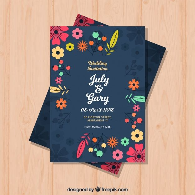 Wedding Invitation With Flowers In Flat Style Download