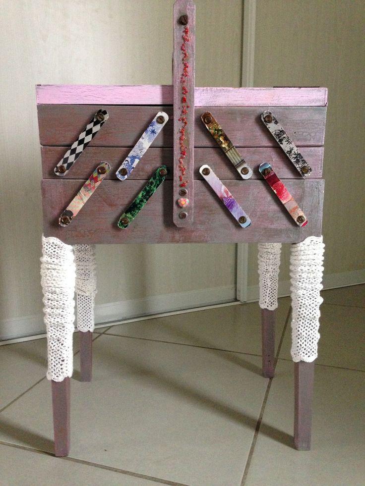 travailleuse boite à couture ancienne relookée : Boîtes, coffrets par greglolonarbonne