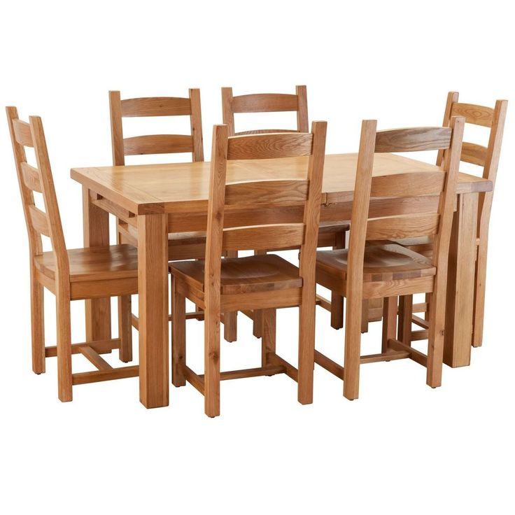 6 Seater Dining Set Rectangle Table Seat Natural Colour Solid Oak Wood Furniture