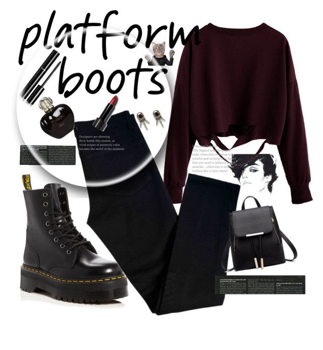 """Botas de plataforma"" by thais-santana-1 ❤ liked on Polyvore featuring Dr. Martens, J Brand, Chanel, ASOS, Shiseido and Christian Dior"
