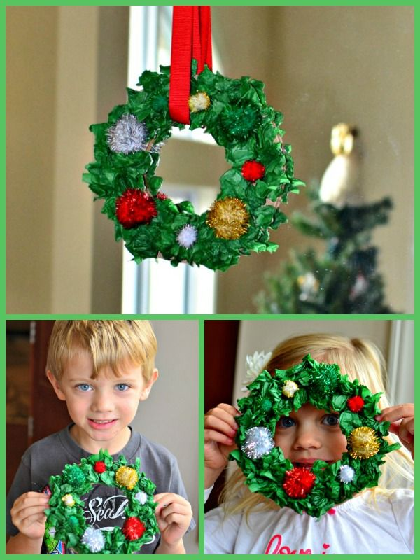 Tissue paper wreaths. Christmas craft for kids.  #christmascraft #preschool