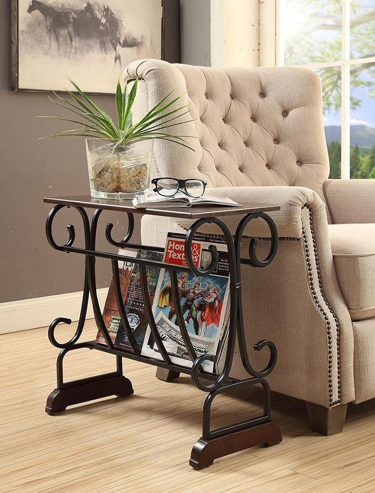 #Ebay #Vintage #End #Table #Accent #Wood #Black #Side #Metal #Magazine #Rack #Sofa #Chair #Storage  #Unbranded #Traditional