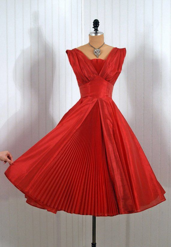 Cocktail Dress, Fred Perlberg (Dance Label): 1950's, fully-lined silk organza, pleated shelf-bust bodice, accordion-pleated skirt with middle vent.