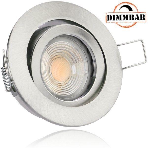 LED Einbaustrahler Set Silber gebürstet mit COB LED GU10 Markenstrahler von LEDANDO 7W mit dimmbarer
