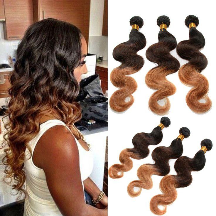 "100% BRAZILIAN VIRGIN UNPROCESSED HUMAN HAIR 3Bundles 16""18""20"" 1B/4/27# US Hot #wigiss #HairExtension"