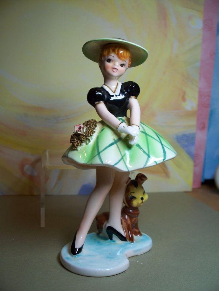 ♡ Orion girl w/puppy figurine ♡ fancy dress hat gloves ♡ Minty ♡ RARE FIND ♡ W0W   eBay
