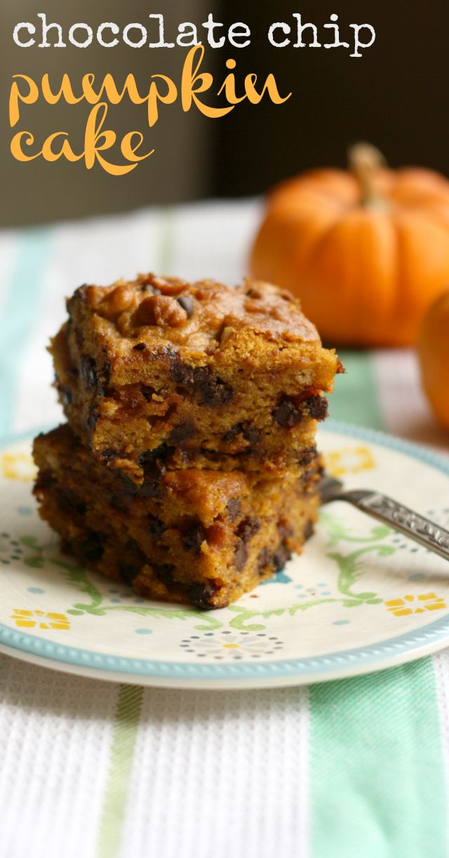 A delicious and moist recipe for Pumpkin Chocolate Chip Cake that is vegan and has a gluten free option.