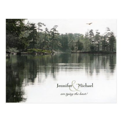 tranquil rustic lake evergreens reflection wedding postcard - postcard post card postcards unique diy cyo customize personalize