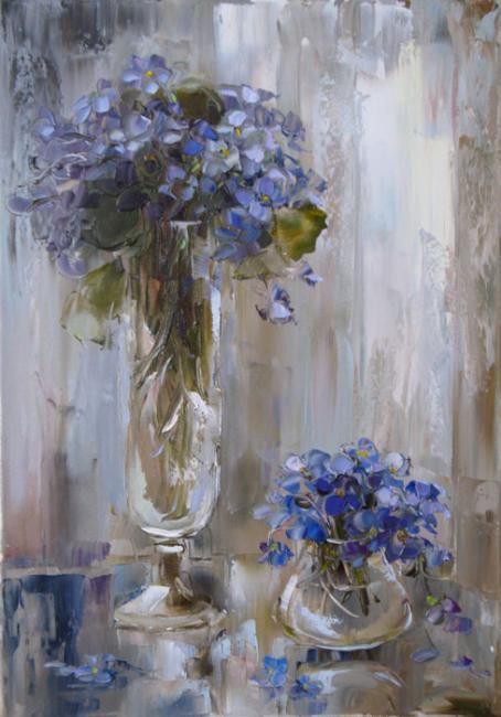 violets by Russian artist, Oksana Kravchenko (1971) Russia, Novouralsk