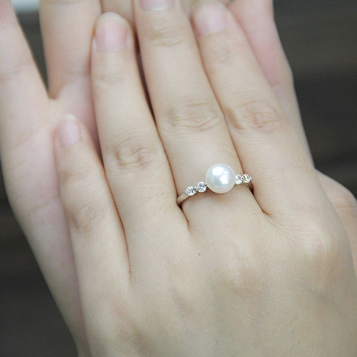 jeenjewels pearl ring on silver real engagement gemstone rings