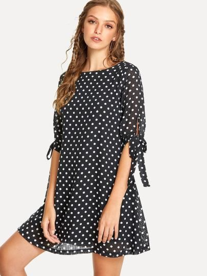 3e4cbfd37b89 Shop Tied Cuff Polka Dot Dress online. SheIn offers Tied Cuff Polka Dot  Dress   more to fit your fashionable needs.