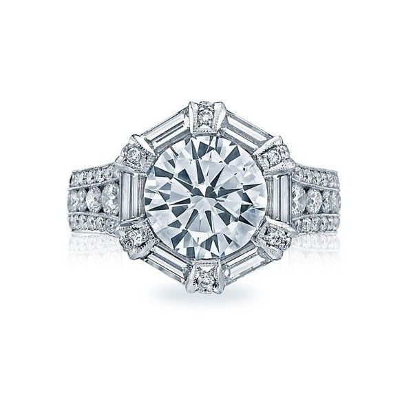 Tacori HT2603RD Royal T Crescent Halo Channel Set Engagement Setting (£21,090) ❤ liked on Polyvore featuring jewelry, rings, channel set ring, channel setting ring, tacori rings, tacori jewelry and tacori