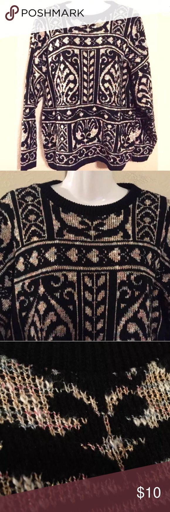 """Vintage 1980s sweater Vintage Jessica Stevens 1980s sweater; Knit Heart pattern; Shimmery black and beige gold tone; measures approx 21"""" pit to pit, 24"""" long; made in USA; Acrylic and polyester; gently used condition, no stains or holes; super cute!!! Jessica Stevens Sweaters Crew & Scoop Necks"""