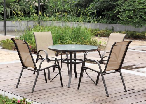 4 Chair, Glass Table That Can Hold An Umbrella ($130)