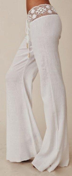 Gorgeous crochet detail white pant