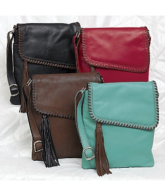 Whipstitch large sidebag from monroe and main topstitching and tassel